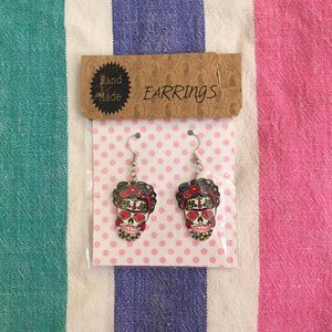 Frida Kahlo Mexican Calavera Dangle Earrings
